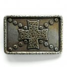 Old Knights Shield Cross Bronze color metal belt buckle