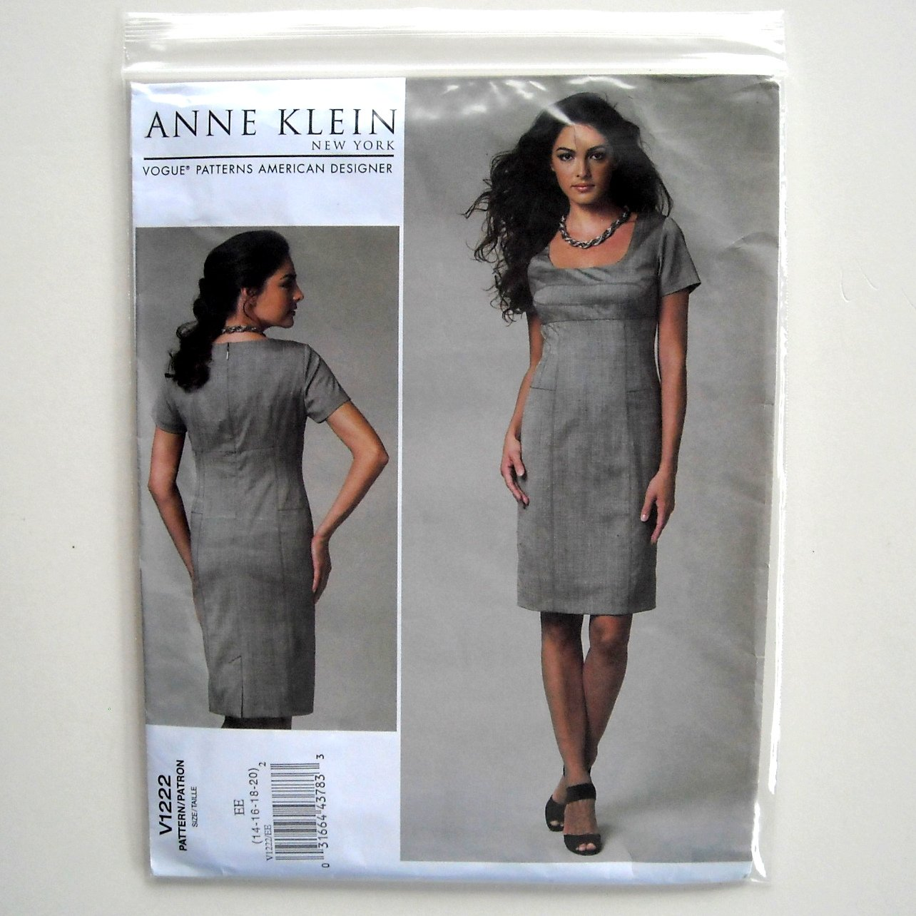 Anne Klein Misses Dress Size EE 14 - 20 Vogue Sewing Pattern V1222