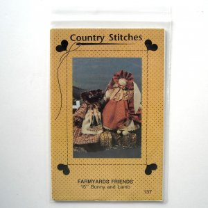 Country Stitches 1990 Farmyards Friends Dolls Bunny and Lamb Crafts pattern #137
