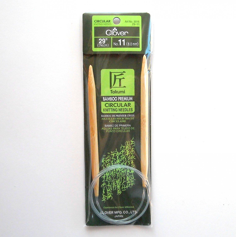 29 Inch Clover Takumi Bamboo Premium Circular Knitting Needles No 11