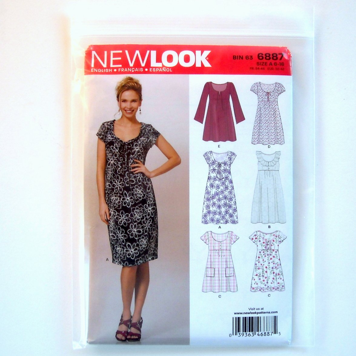New Look Misses Dresses Six Sizes In One A 6 - 16 Simplicity Sewing Pattern 6887