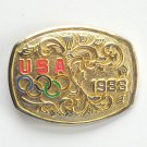 Vintage Gold Color USA Olympic 1988 Belt Buckle