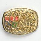 Vintage Gold Color USA Olympic 1988 Belt Buckle