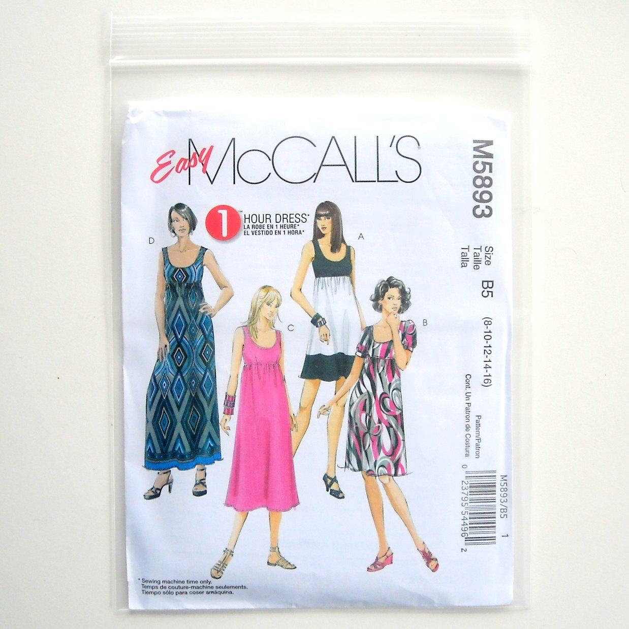 Misses Womens Dresses Four Lengths McCalls Easy Sewing Pattern M5893