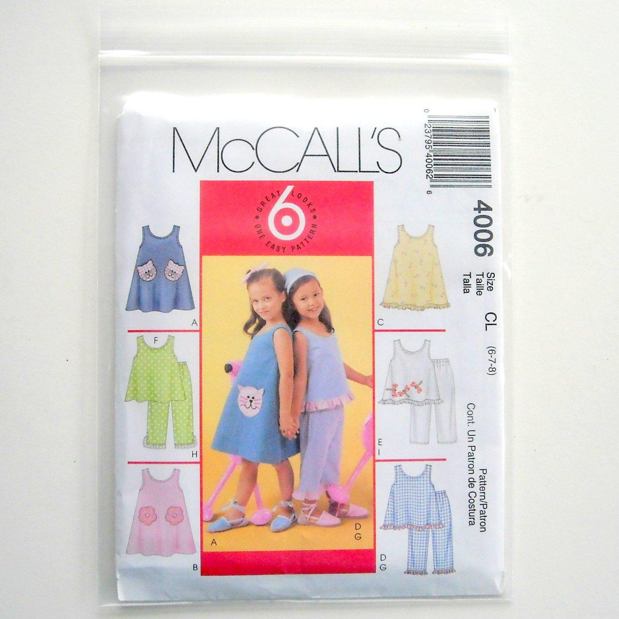 Girls Dresses Top Pants 6 Great Looks McCalls Sewing Pattern M4006