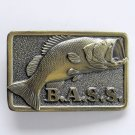 Vintage B.A.S.S Anglers Sportsman Society Brass alloy belt buckle