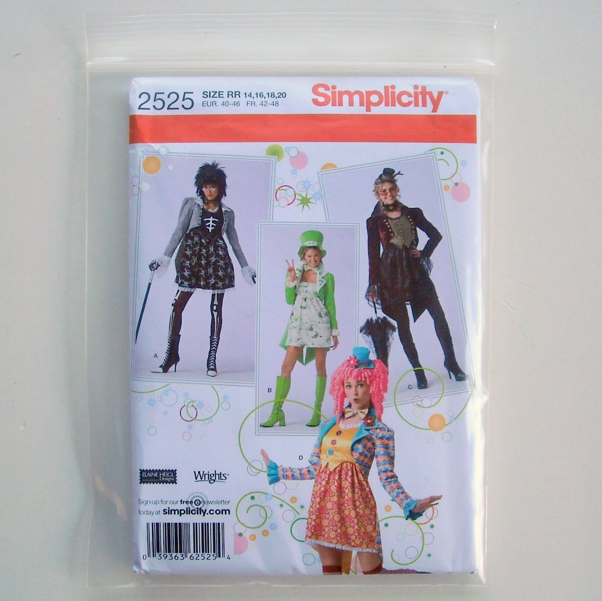 Elaine Heigl Misses Costumes Simplicity Sewing Pattern 2525
