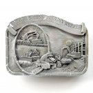 American Construction Worker 1984 3D Pewter alloy belt buckle