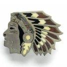 Vintage Native American Mother Of Pearl Nickel Silver Color Indian Head Belt Buckle
