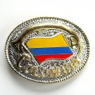 Flag Of Colombia Gold Silver Color Metal Alloy belt buckle