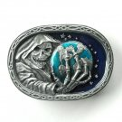 Grim Reaper Grab The Earth Pewter Vintage CJ belt buckle