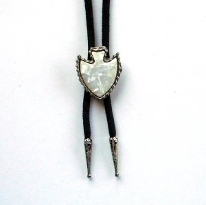 Arrowhead Abalone Silver Color Bolo Bootlace Tie
