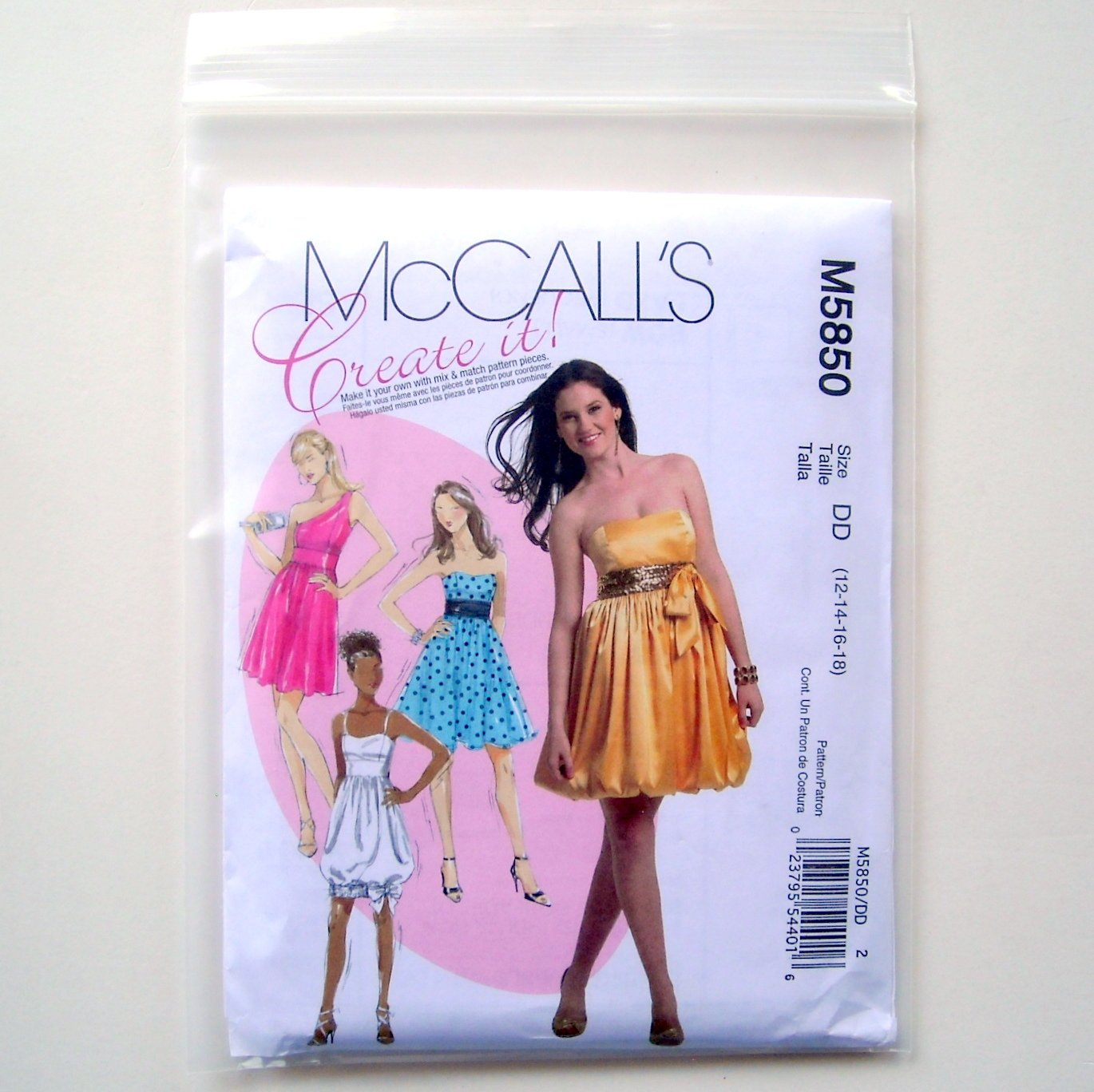 Prom Evening Misses Dresses Size 12 - 18 McCalls Sewing Pattern M5850