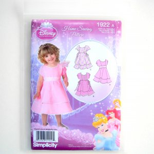 Toddlers Dresses Disney Princess Size 1/2 - 4 Simplicity Sewing Pattern 1922