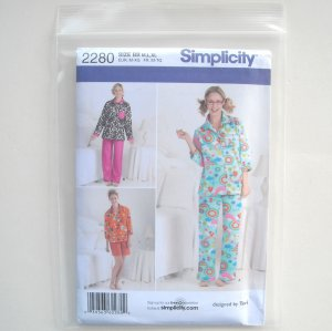 Misses Fleece Pajamas Sleepwear Size M L XL Simplicity Sewing Pattern 2280
