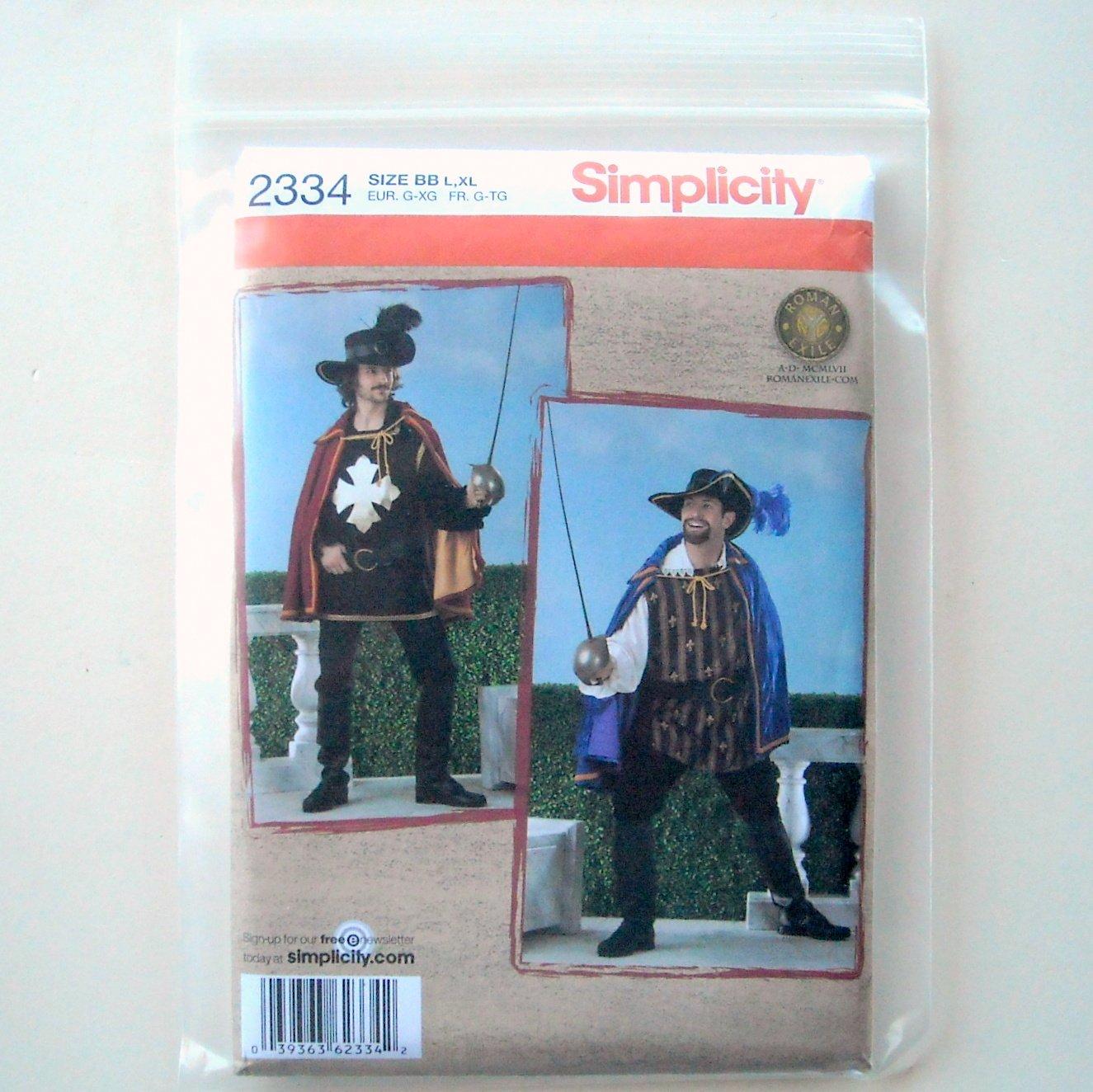 Musketeer Costume Cape Shirt Hat Belt L XL Simplicity Sewing Pattern 2334 7fb1c652d8e