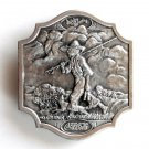 Coca Cola Fishing Boy and Dog Vintage Bergamot Pewter belt buckle