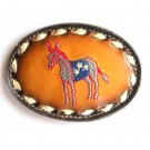 Democratic Party Donkey Red White Blue Leather Tony Lama Belt Buckle