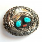Western Genuine Turquoise Handcrafted Silver color SSI belt buckle