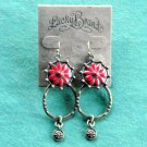 Lucky Brand Red Flower Hoop Brass tone earrings
