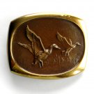 Vintage Flying Ducks 3D Steven L Knight Bronze belt buckle