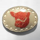 Red Bull Tony Lama Embroidered White Stitching Gray Leather Belt Buckle
