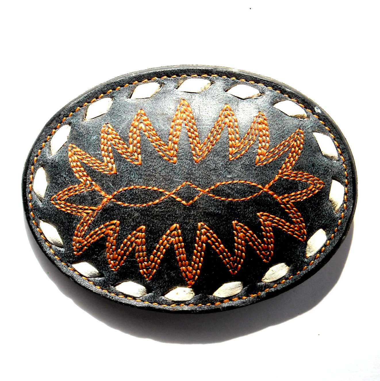 Tony Lama Embroidered Geometric Designs White Stitching Black Leather belt buckle