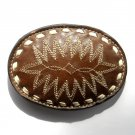 Tony Lama Embroidered Geometric Designs White Stitching Brown Leather belt buckle