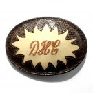 Tony Lama DHL Embroidered Brown Beige Leather belt buckle