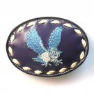 Embroidered Blue Owl Tony Lama White Stitching Leather Belt Buckle