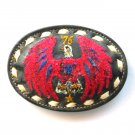 Red Phoenix Bird Embroidered Tony Lama White Stitching Black Leather belt buckle