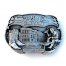 Sams Shoe Store Dodge City Kansas Siskiyou 3D mens Pewter Belt Buckle