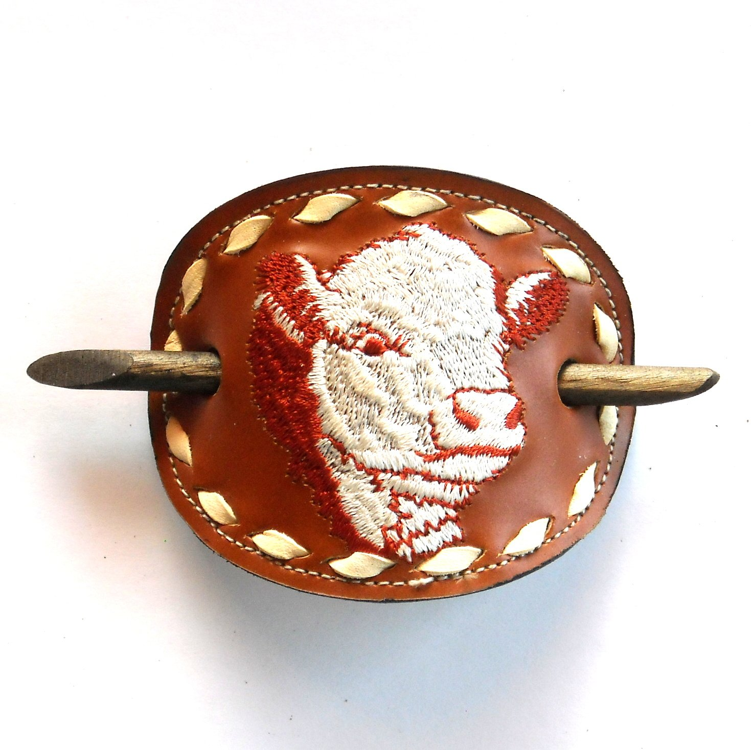 Red Cow Embroidered Genuine Leather Vintage Tony Lama Hair Stick Barrette