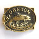 Oregon Chinook Salmon 3D Vintage Heritage Mint BW2911 Solid Brass belt buckle