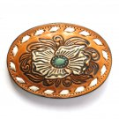 Tony Lama Tooled Blue Beige Flower White Lacing Leather belt buckle