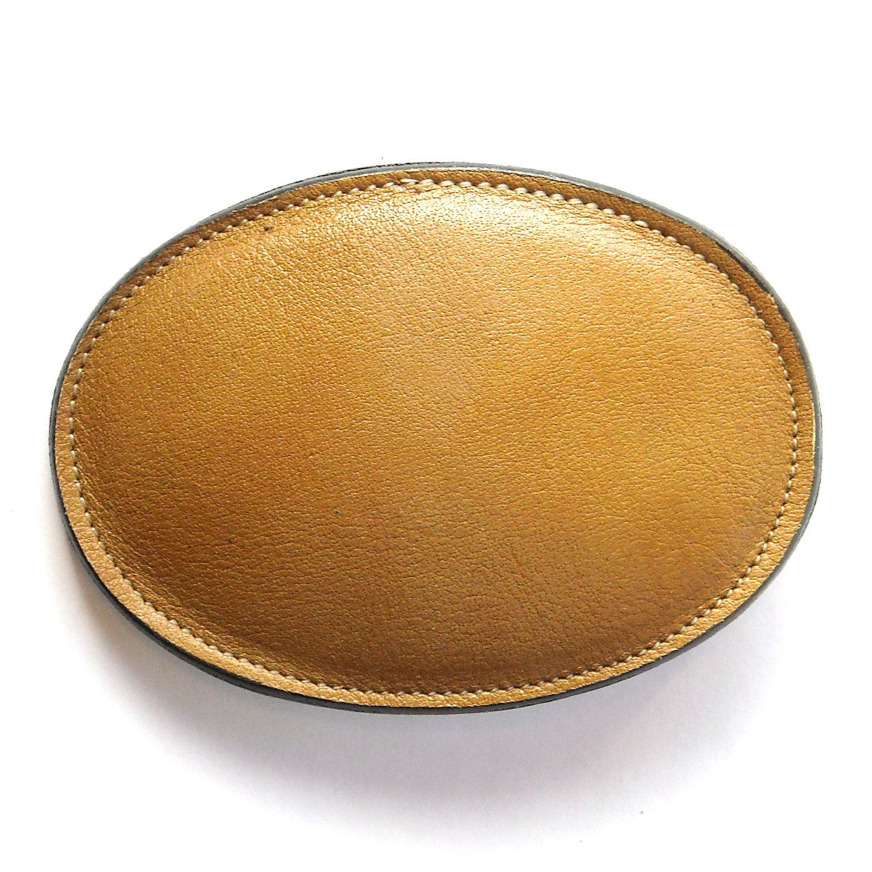 Light Brown Tony Lama Leather Belt Buckle