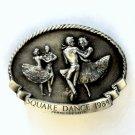 Square Dance Arroyo Grande Pewter Vintage Belt Buckle