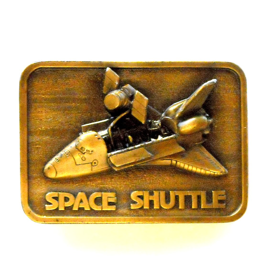 Space Shuttle 3D 1980 Brass Color Vintage belt buckle