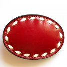 Red Tony Lama White Stitching Leather belt buckle