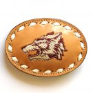 Wolf Embroidered Tony Lama White Lacing Light Brown Leather belt buckle