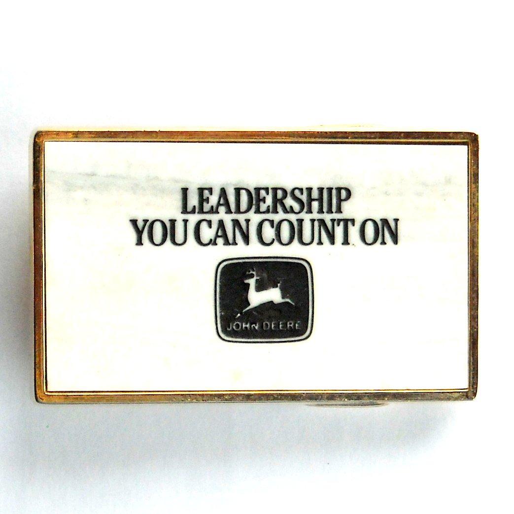 John Deere Leadership Brass color belt buckle