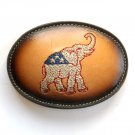 GOP Elephant Republican Party Embroidered Red White Blue Leather Tony Lama belt buckle