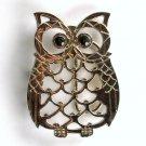 Silver Color Owl Black Eyes Open Cut Out Unisex belt buckle