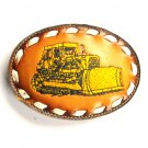 Caterpillar Yellow Cat Dozer Embroidered Tony Lama Brown Leather Belt Buckle