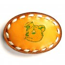 Cartoon Sailor Dog Embroidered Tony Lama Brown Leather belt buckle