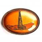 Texas Oil Drill Rig Embroidered Tony Lama Brown Leather belt buckle