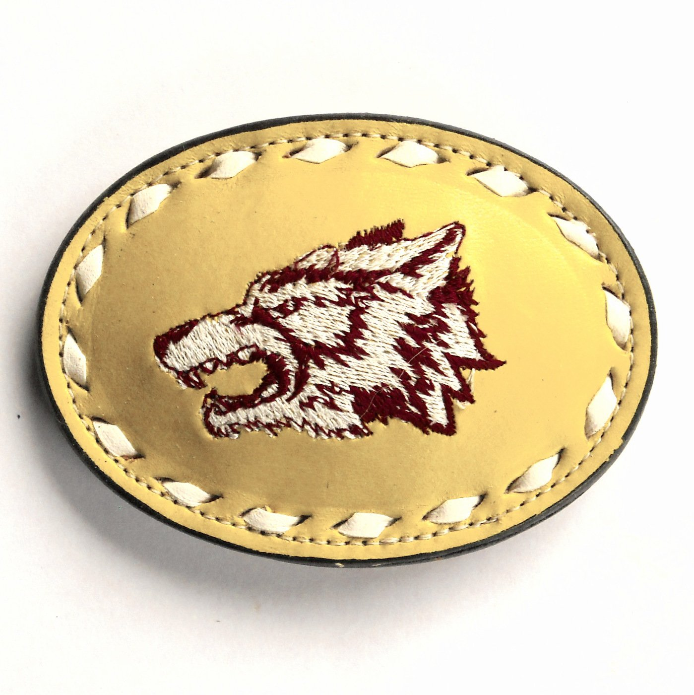 Wolf Embroidered Tony Lama White Lacing Beige Leather Belt Buckle