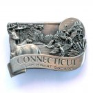 Vintage Connecticut Great Escape Bergamot Pewter belt buckle