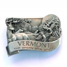 Vintage Vermont Green Mtn State Bergamot Pewter belt buckle