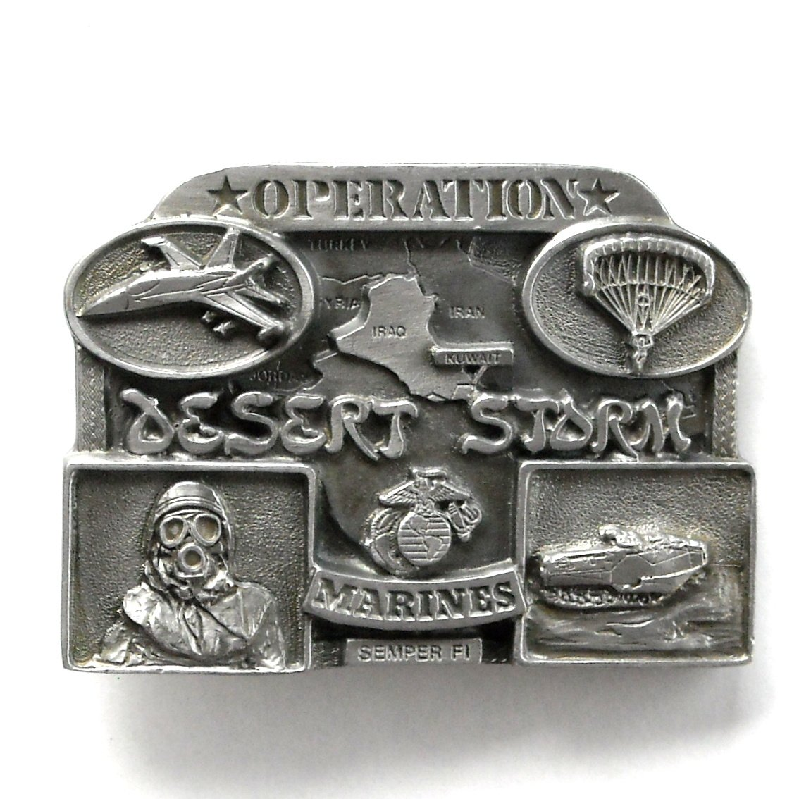 Marines Semper Fi Operation Desert Storm Pewter belt buckle
